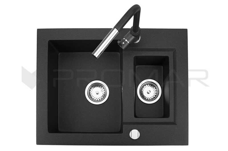 zlewozmywak Minor z baterią Titanum w kolorze czarnym metalik