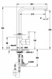 Bateria z wyciąganą wylewką Titanum - wymiary