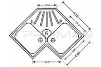 Dwukomorowy zlewozmywak narożny ZKW-07 - wymiary