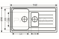 Wymiary - zlewozmywak kwarcowy ZKW-14 A firmy Anfra
