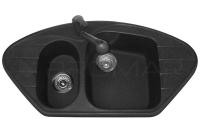 Zlewozmywak narożny granitowy ZGR-03 w kolorze czarnym