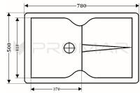 Zlewozmywak granitowy jednokomorowy ZGR-18  - wymiary