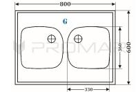 Zlewozmywak granitowy nakładany na szafkę ZGR-02 wymiary 80 cm x 60 cm