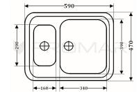 Zlewozmywak granitowy ZGR-04 - wymiary