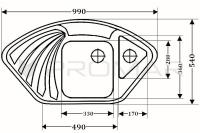 Zlewozmywak granitowy ZGR-13 - wymiary