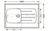 Zlewozmywak jednokomorowy naszafkowy ZGR-02A wymiary 80 x 60