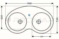 Zlewozmywak narożny dwukomorowy ZGR-20 - wymiary