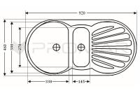Zlewozmywak owalny 1,5komorowy ZGR-01 - wymiary